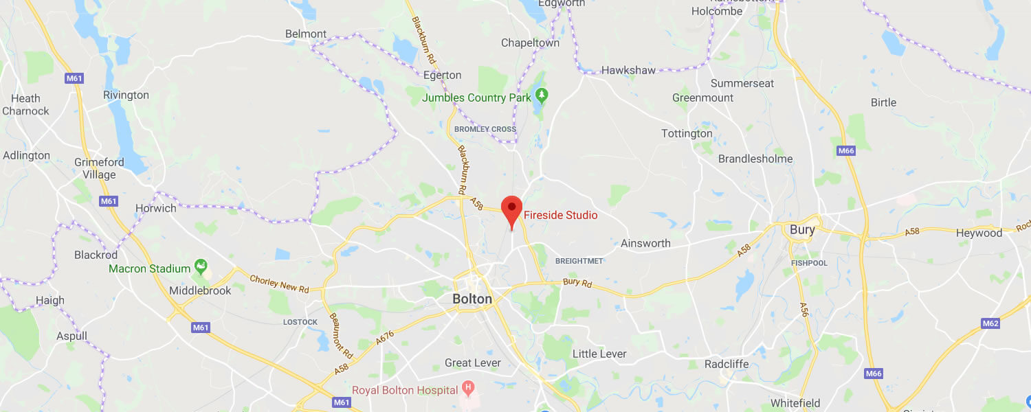 click this map to show fireside studio's location in bolton